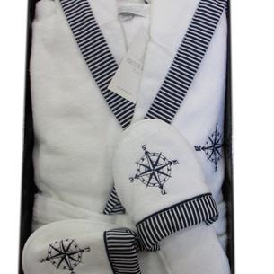 Халат мужской с тапочками Maison Dor MARINE KAPSONLU хлопковая махра белый XL