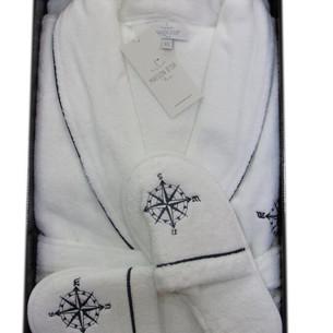 Халат мужской с тапочками Maison Dor MARINE SALYAKA хлопковая махра белый XL