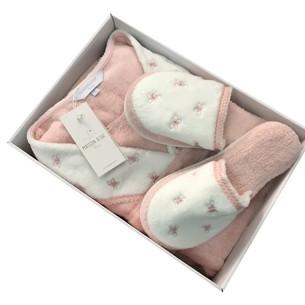 Халат женский с тапочками Maison Dor LAVOINE BUTTERFLY хлопковая махра грязно-розовый L