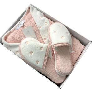 Халат женский с тапочками Maison Dor LAVOINE LONG HEARTS хлопковая махра грязно-розовый L